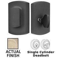 Emtek Hardware - Sandcast Bronze Deadbolts - Ridgemont with Flap Single Cylinder Deadbolt in Flat Black Bronze