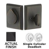 Emtek Hardware - Rustic Modern Deadbolts - Single Cylinder Bronze Deadbolt in Flat Black Bronze