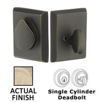 Emtek Hardware - Rustic Modern Deadbolts - Single Cylinder Bronze Deadbolt in Flat Black Bronze