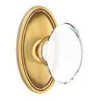 Emtek Hardware - Crystal Door Hardware - Hampton Double Dummy Door Knob with Oval Rose in Flat Black