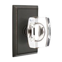 Emtek Hardware - Crystal Door Hardware - Windsor Privacy Door Knob with Rectangular Rose in Oil Rubbed Bronze