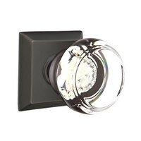 Emtek Hardware - Crystal Door Hardware - Georgetown Privacy Door Knob with Quincy Rose in Satin Nickel