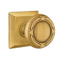 Emtek Hardware - Brass Designer Knobs - Privacy Ribbon & Reed Knob With Quincy Rose in Polished Brass