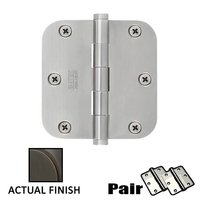 "Emtek Hardware - Door Accessories - 3-1/2"" X 3-1/2"" 5/8"" Radius Steel Residential Duty Hinge in Black"