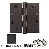 """Emtek Hardware - Door Accessories - 4-1/2"""" X 4-1/2"""" Square Steel Heavy Duty Hinge in Flat Black"""