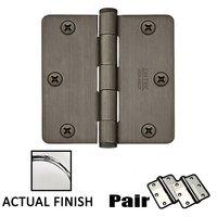 """Emtek Hardware - Door Accessories - 3-1/2"""" X 3-1/2"""" 1/4"""" Radius Steel Heavy Duty Hinge in Flat Black Bronze"""