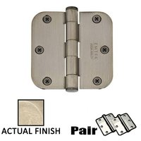"""Emtek Hardware - Door Accessories - 3-1/2"""" X 3-1/2"""" 5/8"""" Radius Heavy Duty Steel Hinge in Flat Black"""