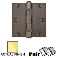 "Emtek Hardware - Door Accessories - 3-1/2"" X 3-1/2"" Square Heavy Duty Steel Ball Bearing Hinge in Flat Black"