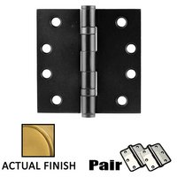 "Emtek Hardware - Door Accessories - 4"" X 4"" Square Steel Heavy Duty Ball Bearing Hinge in Flat Black"