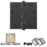 "Emtek Hardware - Door Accessories - 4-1/2"" X 4-1/2"" Square Steel Heavy Duty Ball Bearing Hinge in Flat Black"