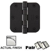 """Emtek Hardware - Door Accessories - 3-1/2"""" X 3-1/2"""" 5/8"""" Radius Steel Heavy Duty Ball Bearing Hinge in Flat Black"""