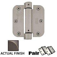 "Emtek Hardware - Door Accessories - 3-1/2"" X 3-1/2"" 5/8"" Radius UL Steel Spring Hinge in Flat Black"