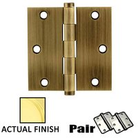 "Emtek Hardware - Door Accessories - 3-1/2"" X 3-1/2"" Square Solid Brass Residential Duty Hinge in Lifetime Brass"