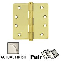 "Emtek Hardware - Door Accessories - 4"" X 4"" 1/4"" Radius Solid Brass Residential Duty Hinge in Lifetime Brass"