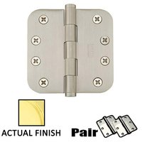 "Emtek Hardware - Door Accessories - 4"" X 4"" 5/8"" Radius Solid Brass Residential Duty Hinge in Lifetime Brass"