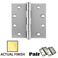 """Emtek Hardware - Door Accessories - 4-1/2"""" X 4-1/2"""" Square Solid Brass Heavy Duty Hinge in Lifetime Brass"""