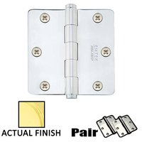 "Emtek Hardware - Door Accessories - 3-1/2"" X 3-1/2"" 1/4"" Radius Solid Brass Heavy Duty Hinge in Lifetime Brass"