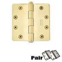 """Emtek Hardware - Door Accessories - 4"""" X 4"""" 1/4"""" Radius Solid Brass Heavy Duty Hinge in Lifetime Brass"""
