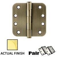 """Emtek Hardware - Door Accessories - 4"""" X 4"""" 5/8"""" Radius Solid Brass Heavy Duty Hinge in Lifetime Brass"""