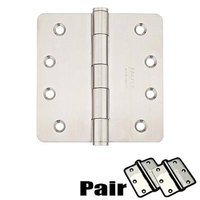 "Emtek Hardware - Door Accessories - 4"" X 4"" 1/4"" Radius Residential Duty Hinge in Brushed Stainless Steel"