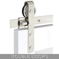 Emtek Hardware - Flat Track Sliding Barn Door Hardware - Classic Face Mount 10' Track with Spoked Wheel & Flat Fastener for Double Doors in Brushed Stainless Steel