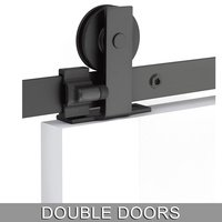 Emtek Hardware - Flat Track Sliding Barn Door Hardware - Modern Rectangular Top Mount 10' Track with Solid Wheel & Classic Fastener for Double Doors in Brushed Stainless Steel