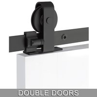 Emtek Hardware - Flat Track Sliding Barn Door Hardware - Classic Top Mount 10' Track with Solid Wheel & Classic Fastener for Double Doors in Brushed Stainless Steel
