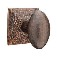 Emtek Hardware - Arts & Crafts Door Hardware - Privacy Hammered Egg Door Knob with Hammered Rose and Concealed Screws in Oil Rubbed Bronze