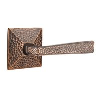 Emtek Hardware - Arts & Crafts Door Hardware - Right Handed Privacy Hammered Door Lever with Hammered Rose and Concealed Screws in Oil Rubbed Bronze