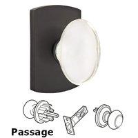 Emtek Hardware - Crystal Door Hardware - Hampton Passage Door Knob with #4 Rose and Concealed Screws in Flat Black Bronze