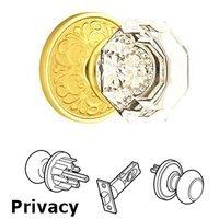 Emtek Hardware - Crystal Door Hardware - Old Town Privacy Door Knob with Lancaster Rose and Concealed Screws in Oil Rubbed Bronze