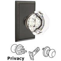 Emtek Hardware - Crystal Door Hardware - Old Town Privacy Door Knob with Rectangular Rose and Concealed Screws in Oil Rubbed Bronze