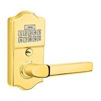 Emtek Hardware - Electronic Locksets - Milano Left Hand Classic Lever with Electronic Keypad Lock in Polished Brass