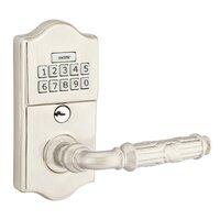 Emtek Hardware - Electronic Locksets - Ribbon & Reed Left Hand Classic Lever with Electronic Keypad Lock in Polished Brass