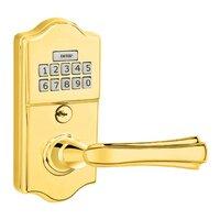 Emtek Hardware - Electronic Locksets - Wembley Left Hand Classic Lever with Electronic Keypad Lock in Polished Brass
