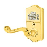 Emtek Hardware - Electronic Locksets - Rope Left Hand Classic Lever Storeroom Electronic Keypad Lock in Polished Brass