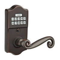 Emtek Hardware - Electronic Locksets - Rustic Right Hand Classic Lever Storeroom Electronic Keypad Lock in Polished Brass