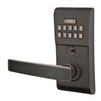 Emtek Hardware - Electronic Locksets - Geneva Left Hand Modern Lever Storeroom Electronic Keypad Lock in Oil Rubbed Bronze