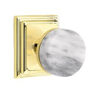 Emtek Hardware - Select Knobs - Passage Wilshire Rosette with Conical Stem and White Marble Knob in Satin Brass