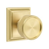 Emtek Hardware - Select Knobs - Passage Wilshire Rosette with Conical Stem and Knurled Knob in Satin Brass