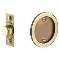 Emtek Hardware - Tubular Pocket Door Hardware - Tubular Round Passage Pocket Door Lock in Flat Black