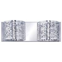 ET2 Lighting - Inca - Double Wall Mount in Polished Chrome with Clear/White Glass