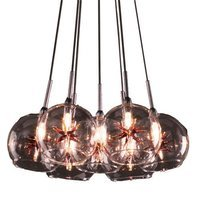 "ET2 Lighting - Clearance - 12"" 7-Light Chandelier in Satin Nickel with Clear/Amber Glass"