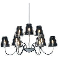 "ET2 Lighting - Chic - 27"" 9-Light Chandelier in Polished Chrome with Clear Glass"