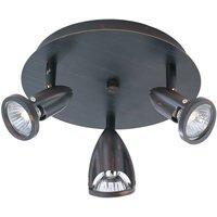 ET2 Lighting - Clearance - Agron 3-Light Flush Mount in Bronze