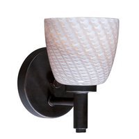 "ET2 Lighting - Carte Bronze with Gray Ripple Glass Collection - 5"" 1-Light Wall Mount in Bronze with Gray Ripple Glass"