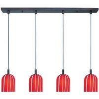 "ET2 Lighting - Carte Bronze with Red Glass - 5"" 4-Light Pendant in Bronze with Red Glass"