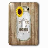 Jazzy Wallplates - Flowers - Single Toggle Wallplate With Country Rustic Mason Jar With Sunflower Home Sweet Home