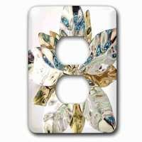 Jazzy Wallplates - Flowers - Single Duplex Outlet With Silver Petals On White
