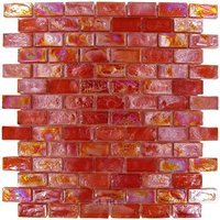 "Distinctive Glass Tile - Mosaic - Mosaic Brick Red Iridescent 12"" x 12"" Film Faced Sheet"